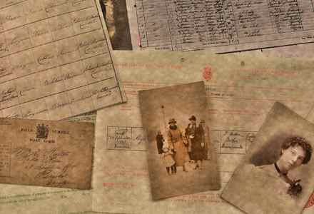 collage of photos and documents